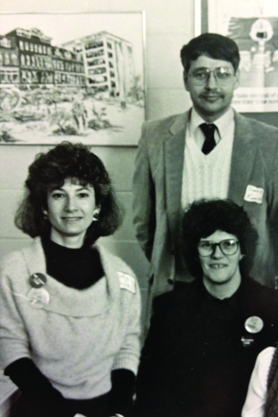 Cathy Glaude, Doris Ray and Dennis Kunces (back) at a professional development training in Machias, Maine 1988
